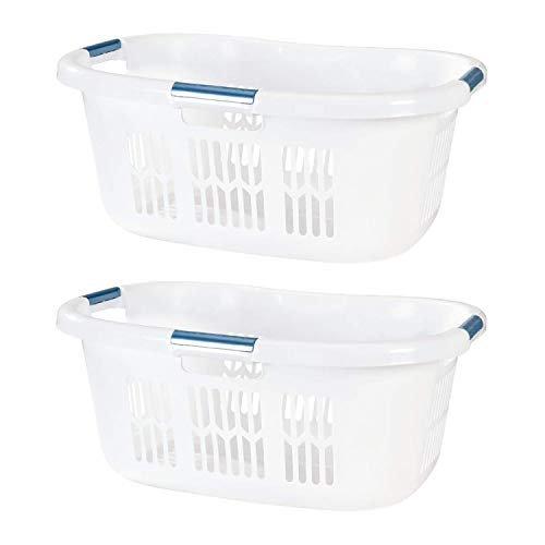 Rubbermaid 2.1 Bushel Small Hip Hugger Portable Plastic Home Laundry Basket with Grab Through Handles, White (2-Pack)