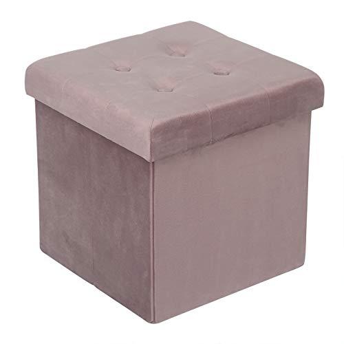 WOLTU Sitzhocker mit Stauraum Sitzwürfel Sitzbank faltbar Truhen Aufbewahrungsbox, Deckel abnehmbar, Gepolsterte Sitzfläche aus Samt, 37,5x37,5x38CM(LxBxH), Rosa, SH69rs