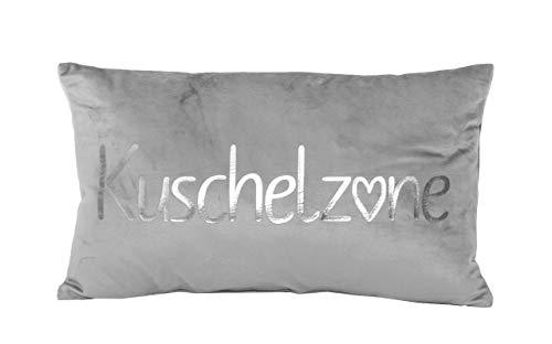 PremiumShop321 Dekokissen Kuschelkissen Kuschelzone grau/Silber Samt-Optik 30x50 cm Kissen incl. Füllung
