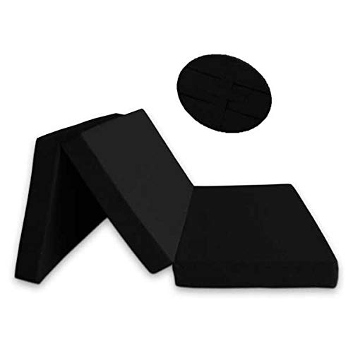 Ventadecolchones - Colchón Plegable con Cierre y Asa 80 cm x 190 cm x 10 cm con Espuma en Densidad 25kg/m3 (extrafirme) en Loneta Premium Negro