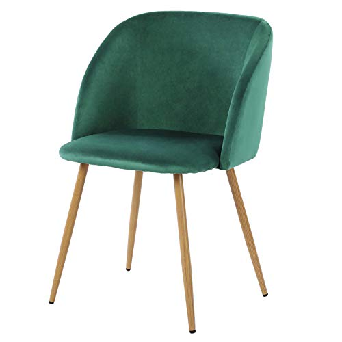 """H.J WeDoo Velvet Dining Chairs Upholstered Armchair Mid Century Modern Chairs Living Room Chair Makeup Accent Chair Side Leisure Chairs with Wood-Look Metal Legs, Dark Green, 18.5""""L x 19.9""""W x 32.9""""H"""