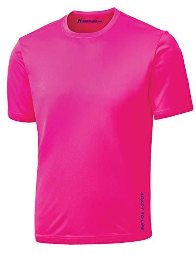 Hybrid Gear Performance Men's Moisture Wicking Short Sleeve T Shirt-L (Neon Pink)