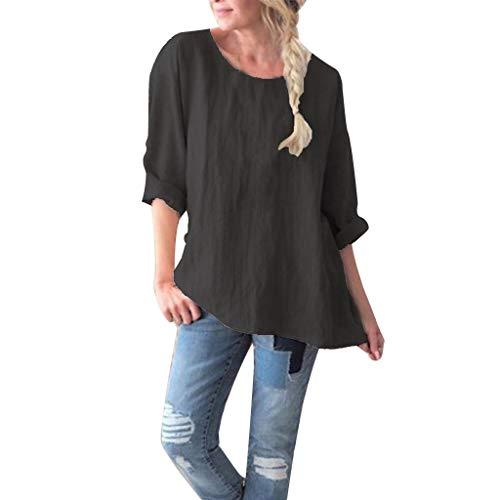 Deelin grote maat blouse tuniek tops vrouwen lange mouwen ronde hals T-shirt gemaakt van katoen linnen uni kleur modieus casual hemd dames