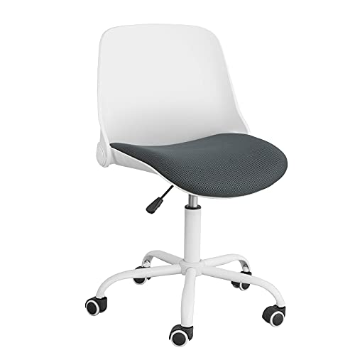 SoBuy FST87-W Silla ergonómica de Oficina con Respaldo Plegable Silla de Escritorio giratoria con Altura Ajustable 83-95 cm Blanco + Negro ES
