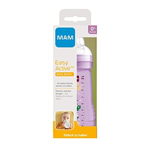 MAM Easy Active - Borraccia da 270 ml, con tettarella MAM, misura 1, in silicone SkinSoft, forma ergonomica, 0+ mesi, gatto/farfalla-Istruzioni in lingua straniera