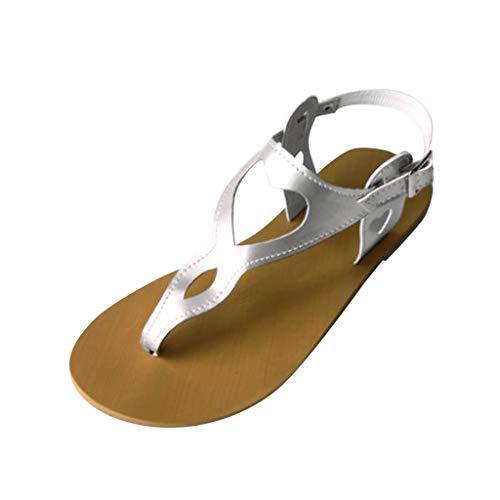 Sandalias Mujer Calzado De Verano CóModo para La Playa Sandalias Boho Zapatos Planos Romanas Sandalias De Corte Retro CuñA CóModos Casual Retro Sandalias 2020 Blanco, Rojo, Naranja 35-43 EU