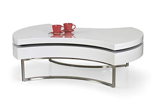 Luenra Tavolino da salotto, tavolino da caffè, in MDF bianco laccato estensibile, 115 × 80 × 38 cm, rettangolare, struttura in acciaio cromato, stile moderno
