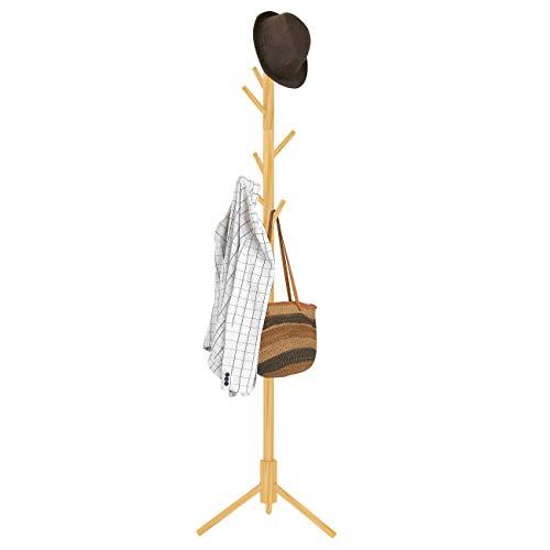 ZRI Bamboo Garderobenständer Kleiderständer Jackenständer Holz mit 8 Haken freistehend 50x50x176cm (Natur)
