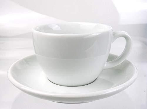 Moka Consorten Italienische Cappuccino-Tasse »Verona Open« | weiß | großer Henkel | Füllmenge (bis zur Oberkante): 180 ml | handgemacht | 6 Tassen & 6 Untertassen | Made in Italy