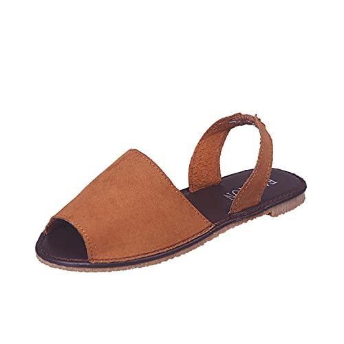 Comfy Women's Sports Knit Sandals, Open Toe Summer Sandals for Women Gradation Thick Bottom, Fish Mouth Beach Casual Sandals Sport Athletic Sandals for Walk/Outdoor (D5-Brown,5)