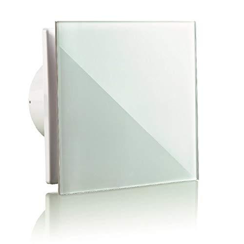 Vlano A-GLAS 125 Timer WH Badlüfter Nachlauf 125 weiß Echtglas Front/Glasfront / 160 m³/h / 32 dB(A) / 17 W/Kugellager (125 Glasfront weiß Timer)