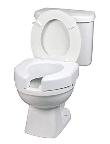 SP Ableware Basic Open-Front 3-Inch Elevated Toilet Seat for Standard/Elongated Toilets - White (725790000)