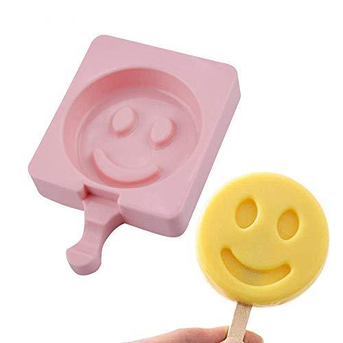 DAGUAI Moldes de silicona para helados con forma de cara sonriente, con palos, antiadherente, de grado alimenticio