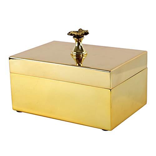 Dfghbn Caja De Joyería Caja de joyería Pendiente del Anillo Pendientes Pulsera de la exhibición de Almacenamiento Caja de Caja de Regalo Collar (Color : Gold, Size : 15X10X7.5cm)