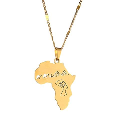 Mapa de África con la reina egipcia Nefertiti Camel Pyramid Collares pendientes Joyería de color plata africana Regalos