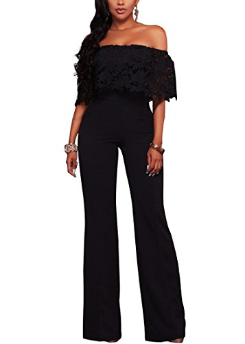 Halfword Womens Off Shoulder Elegant Long Pants Wide Leg Jumpsuits Rompers XL Black