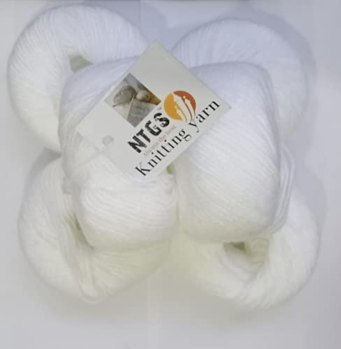 NTGS vardhman Baby Soft Wool Hand Knitting Fingering Crochet Hook Yarn Thread Dyed (Pack of 6) White Shade no.18