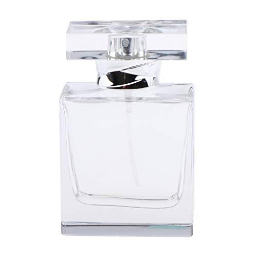 Bonarty Bouteille De Parfum Carrée En Verre Cristal Clair 50 Ml Pour Hommes Femmes Cologne
