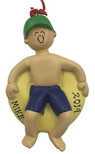 Personalized Tubing Boy Christmas Ornament 2020