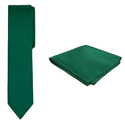 Jacob Alexander Solid Color Men's Skinny Tie and Hanky Set - Forest Green