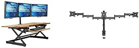 Rocelco 46 Large Height Adjustable Standing Desk Converter with Triple Monitor Mount Bundle product image