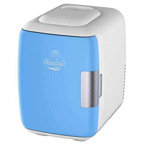 Cooluli Mini Fridge Electric Cooler and Warmer (4 Liter / 6 Can): AC/DC Portable Thermoelectric System w/ Exclusive On the Go USB Power Bank Option (Blue) (Renewed)