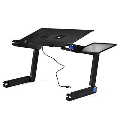 ADSIKOOJF Verstelbare Draagbare Aluminium Laptop Tafel Vouwen laptop Computer Bureau Notebook Stand Met Muis Plaat En Fans