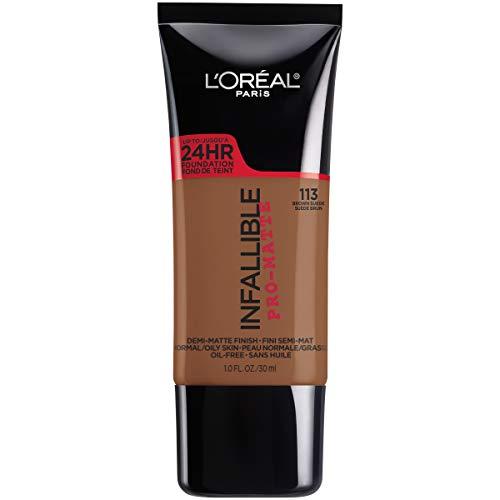 L'Oreal Paris Makeup Infallible Pro-Matte Liquid Longwear Foundation, Brown Suede 113, 1 fl. oz.