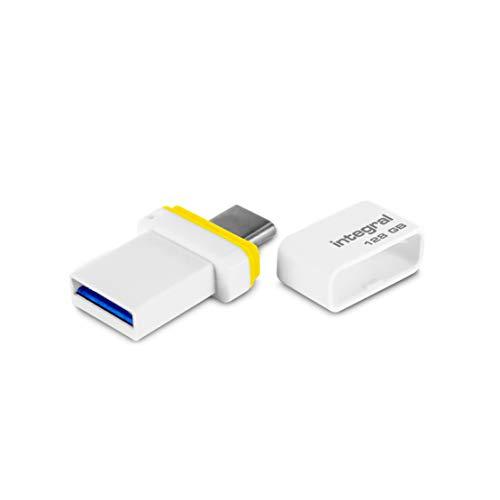 Integral – USB-Stick 128 GB – USB 3.1 & Type-C Fusion Dual Anschluss für Datensicherung zwischen Smartphones, PC, Macs, Tablets USB C