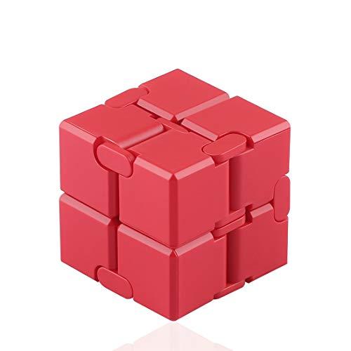 Funxim Infinity Cube Toy para Adultos y niños, versión Nueva Fidget Finger Toy Stress y Ansiedad, Killing Time Fidget Toys Infinite Cube para Office Staff Superficie de Silicona (Rojo)