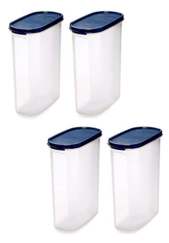 Signoraware Modular Container Oval - 2.3 Litre Plastic Grocery Container (Pack of 4 White Blue)