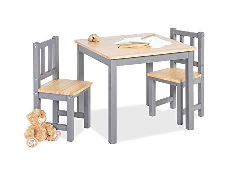 Pinolino Kindersitzgruppe Fenna, 3-teilig, vollmassives Kiefernholz, 2 Stühle und 1 Tisch, für Kinder ab 2 Jahren, grau und klar lackiert