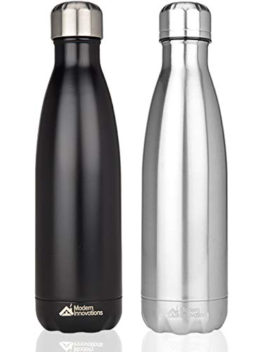 Modern Innovations 17 Ounce Stainless Steel Water Bottles, Vacuum Insulated Double Walled Leak Proof Sports Water Bottle, 2 Pack, Black and Chrome