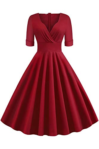 MisShow Damen Elegant V-Ausshcnnitt Retro Kleider Rockabilly Petticoatkleid Abendkleid Knielang Weinrot M
