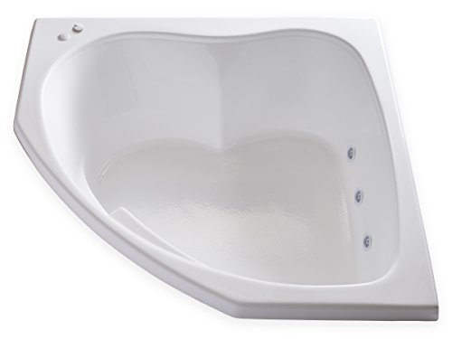 Product Image of the Carver Tubs - SKC5555-6 Jet Whirlpool - 55'L x 55'W x 18.5'H - White Drop In Corner Two Person Bathtub - Left Hand Motor