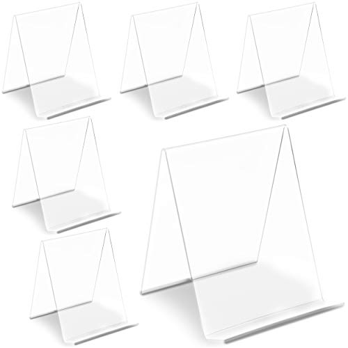 Clear Acrylic Easel Display Stand (4.5 x 5 in, 6 Pack)