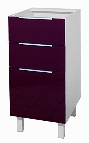 Berlenus CT4BA Küchenunterschrank, 3 Türen, 40 cm, Hochglanz Aubergine