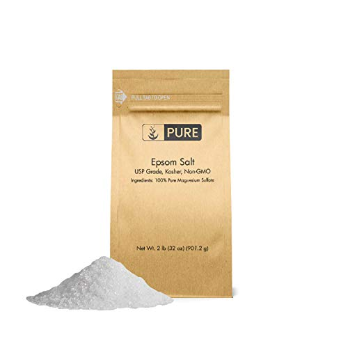 Epsom Salt (2 lb.) by Pure Ingredients, Magnesium Sulfate Soaking Solution, All-Natural, Highest Quality & Purity, USP Grade