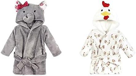 Hudson Baby Girl Plush Animal Face Bathrobe 2-Pack, Gray Rose Elephant Rooster