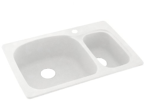 "Swan KSLS-3322-010 33"" x 22"" Swanstone Double-Basin Dual Mount Kitchen Sink, Available in Various Colors"