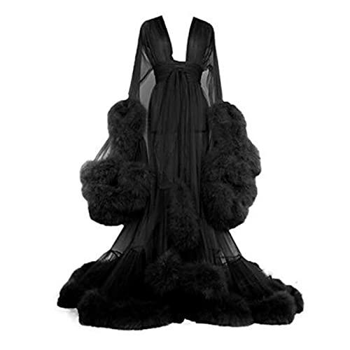 Old Hollywood Fuzzy Robe Für Bed Time Ausgestellte Ärmel Schwanzkleid Tüll Boudoir Robe Feder Brautkleid