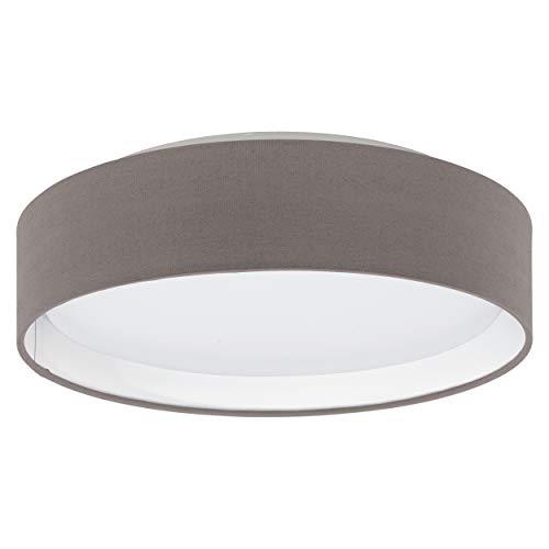 EGLO LED Deckenlampe Pasteri, 1 flammige Textil Deckenleuchte, Material: Stahl, Stoff, Kunststoff, Farbe: Anthrazit braun, weiß, Ø: 32 cm