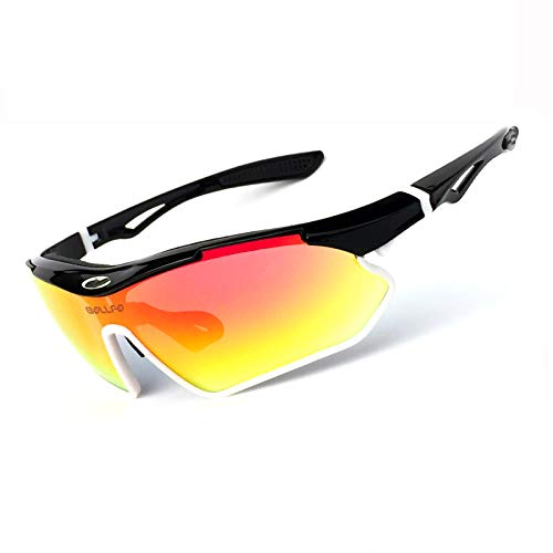 ZPL Cycling Glasses Polarised Sports Sunglasses TR90 Material With UV400 Protection Sunglasses Suitable for Cycling Run Outdoor Activities,white black frame + reov red