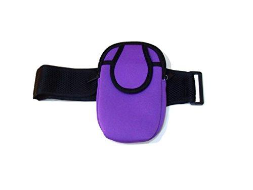 Deet Brazalete morado con bolsillo con cremallera, para reproductor de MP3, teléfono móvil, monedero, etc.