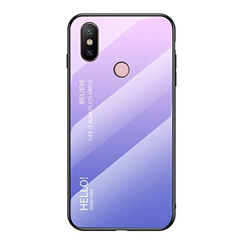 """Capa para Mi A2, Capa traseira de vidro temperado fina da YINCANG resistente a arranhões + Capa de proteção híbrida de silicone TPU macio para Xiaomi Mi A2 (Mi 6X) 6"""" rosa + roxo"""
