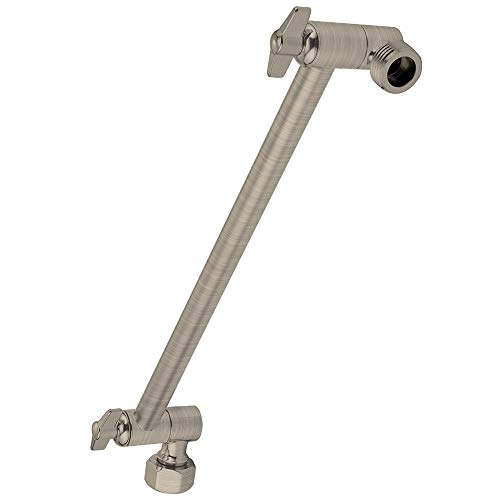 SparkPod Adjustable Shower Arm Extension Brass with High Polished Colors (11 inch, Nickel (Brushed Finish))