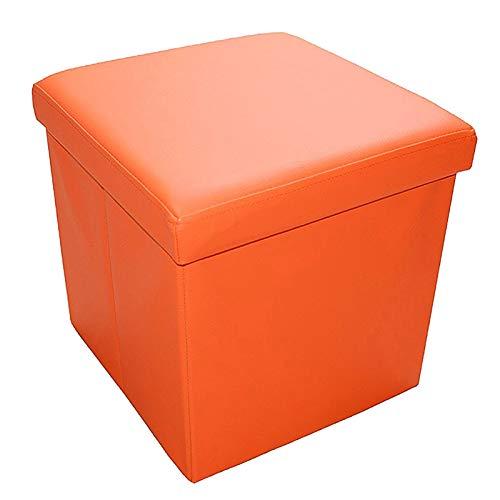 Style home Sitzbank Sitzhocker Aufbewahrungsbox mit Stauraum faltbar belastbar bis 300 kg Kunstleder 38 x 38 x 38 cm (Orange-Kunstleder)