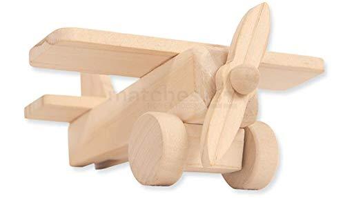 matches21 Flugzeug aus Holz mit Propeller vorgefertigter Bausatz zum Selbstgestalten für Kinder ab 5 Jahren