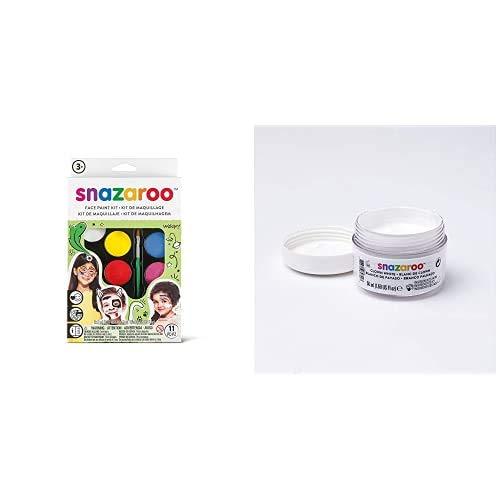 "Snazaroo Kit de Pintura Facial, Maquillaje Fiesta ""Arcoíris"" + - Pintura Facial Clown, 50 ml, Color Blanco"