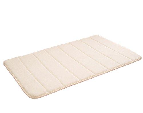 Wicemoon Coral Carpet Rayures Verticales en Mousse à mémoire Tapis de Salle de Bain Tapis de WC 40 * 60 cm, Beige, 40 × 60 cm